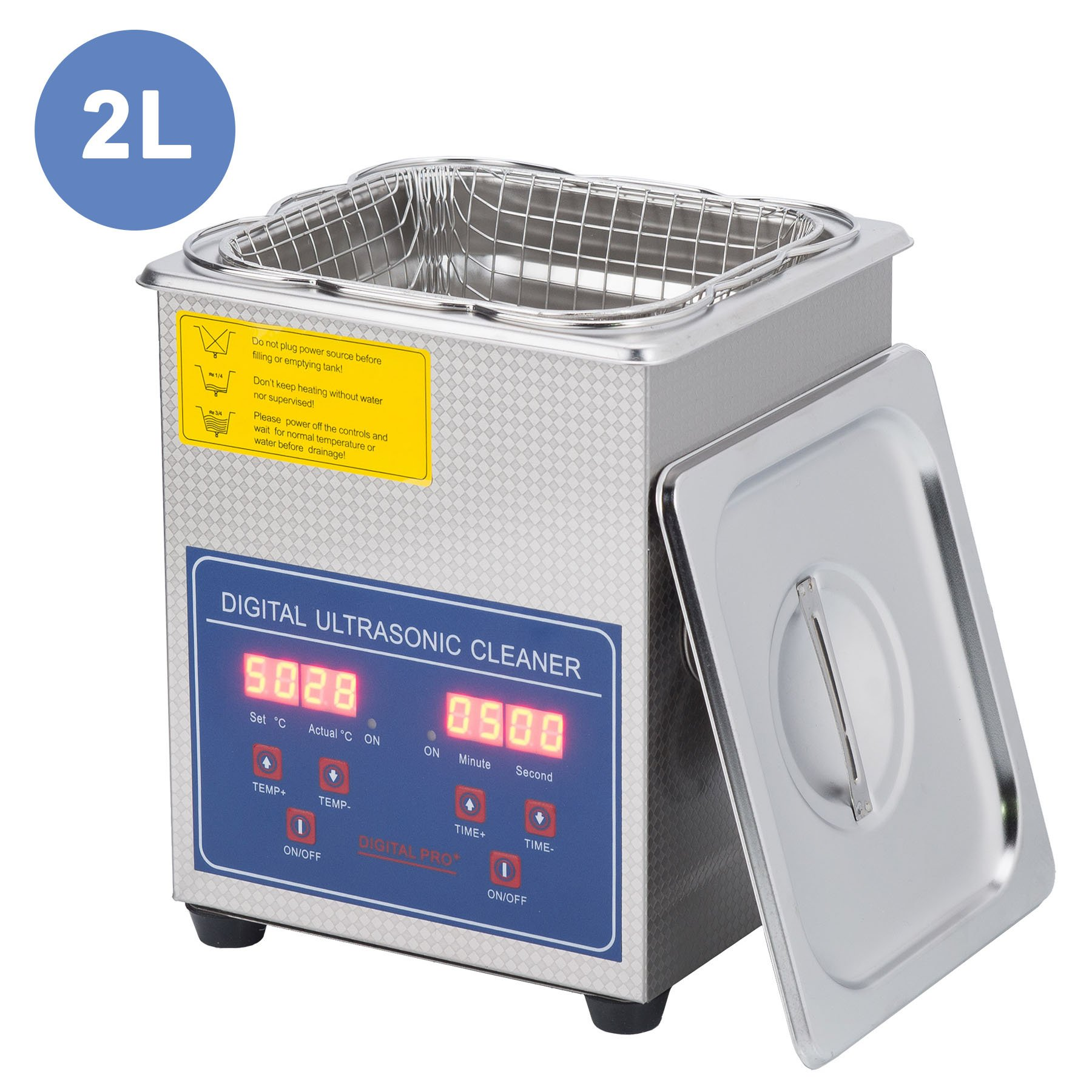 CO-Z 2L Professional Ultrasonic Cleaner with Digital Timer&Heater for Cleaning Jewelry Glasses Watch Dentures Small Parts Circuit Board Dental Instrument, Commercial Electric Ultrasound Clean Machine