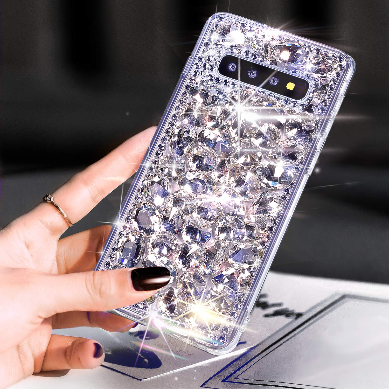 Galaxy S10 Case,Galaxy S10 Diamond Case Cover,ikasus 3D Handmade Bling Rhinestone Diamonds Luxury Sparkle Rhinestones Case Full Crystals Bling Diamond Case Cover for Galaxy S10,Silver by ikasus