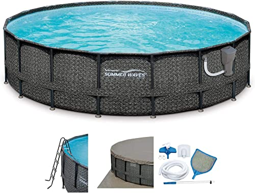 Summer Waves Elite 18ft x 48in Above Ground Frame Outdoor Swimming Pool Set with Sand Filter Pump, Pool Cover, Ladder, Ground Cloth, and Deluxe Maintenance Kit