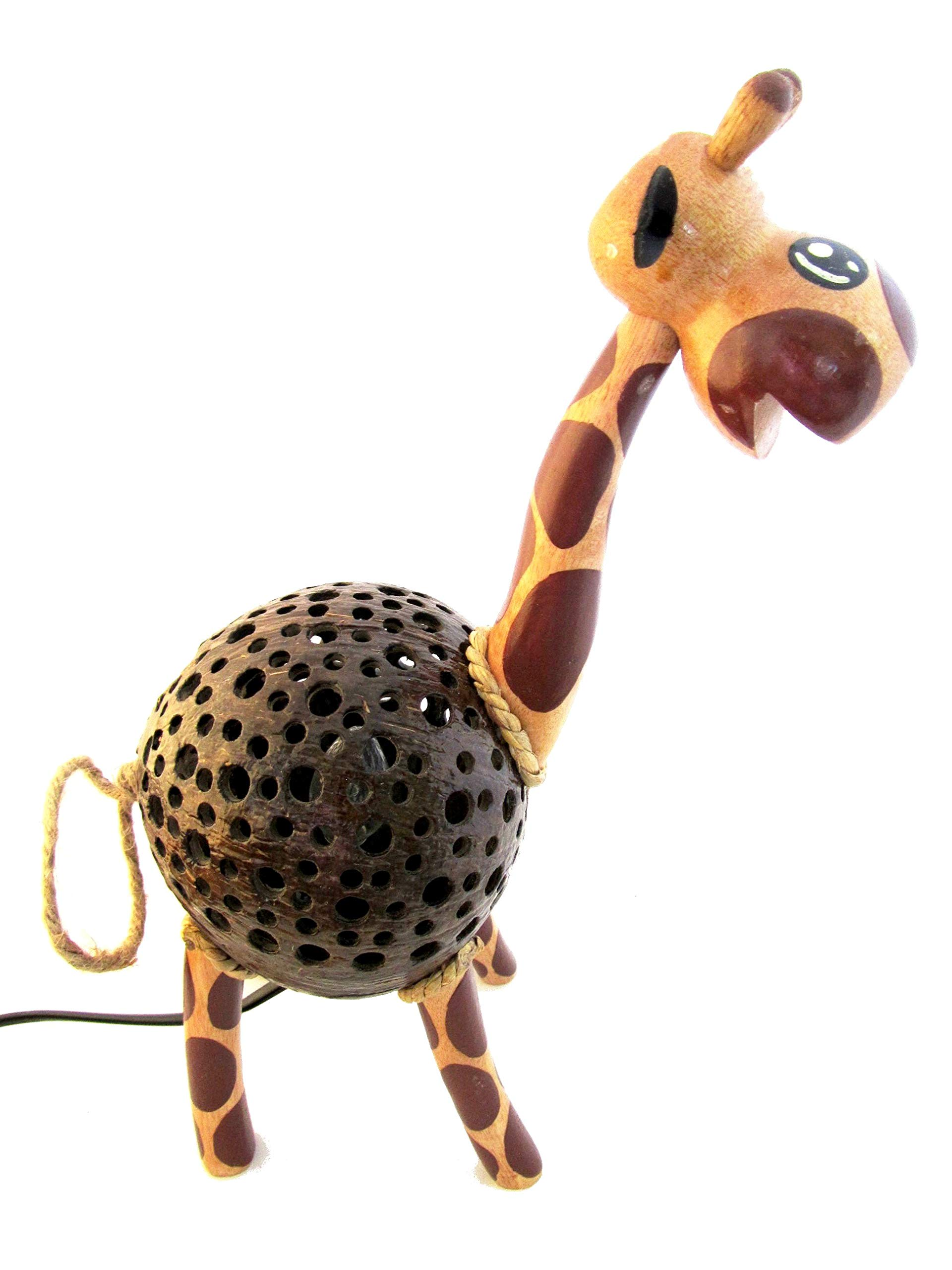 Animal Night Light for Kids Wood Coconut Shell Lamp for Bedroom from Thailand (Giraffe)