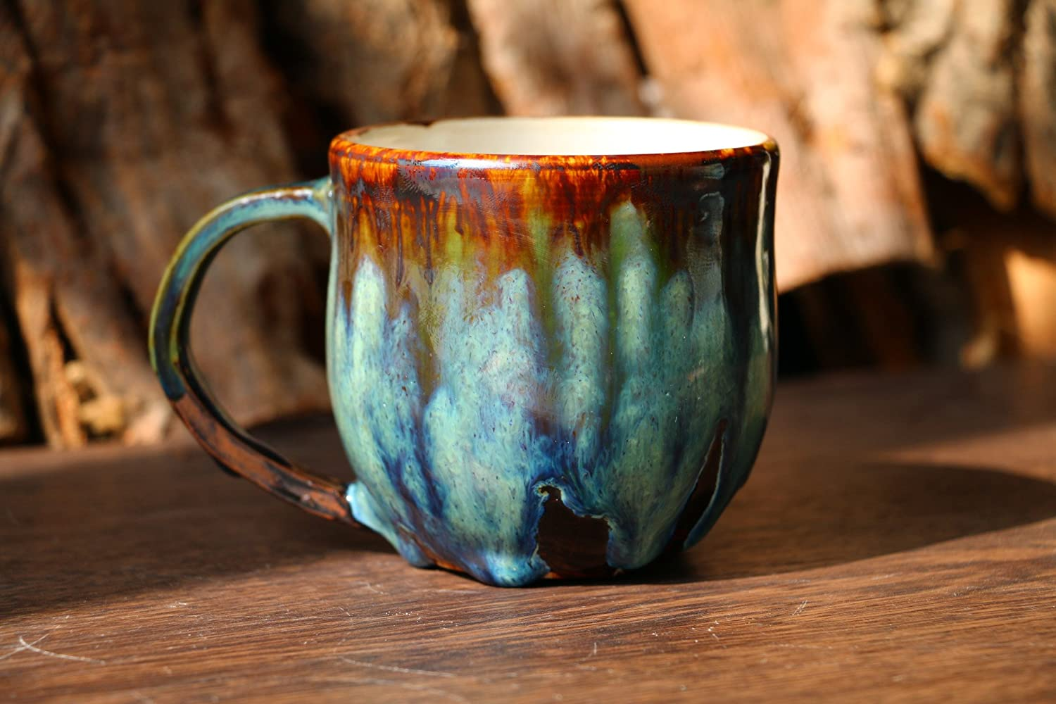 Coffee mug, pottery mug, Psychedelic green mug, 12 Oz, 16 Oz, handmade ceramic mug, coffee lover, coffee mug pottery, unique mug, best gift