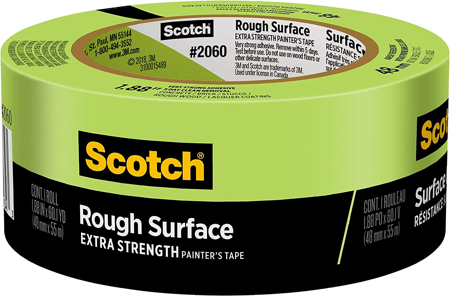 1.88-Inch by 1 2060-48A Scotch 2060-2A Masking Tape for Hard-to-Stick Surfaces