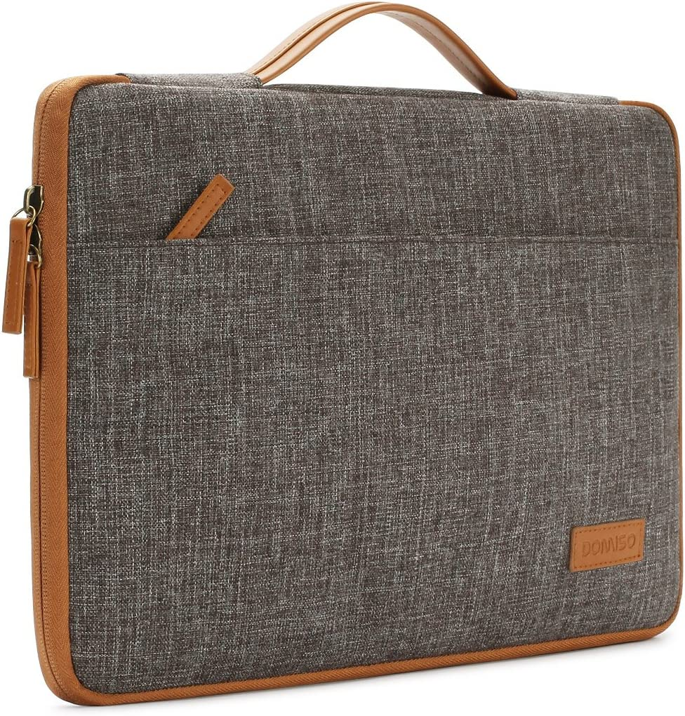 "DOMISO 15.6 Inch Laptop Sleeve Canvas Notebook Portable Carrying Bag Case Handbag for 15.6"" HP/Microsoft/Apple/Lenovo/Acer/ASUS/Dell, Brown"