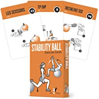 Exercise Cards Stability Balance Ball - Includes 6 Total Body At Home Workouts : Extra Large Waterproof Durable with Diagrams & Instructions : Portable Fitness for Men & Women : 62 cards