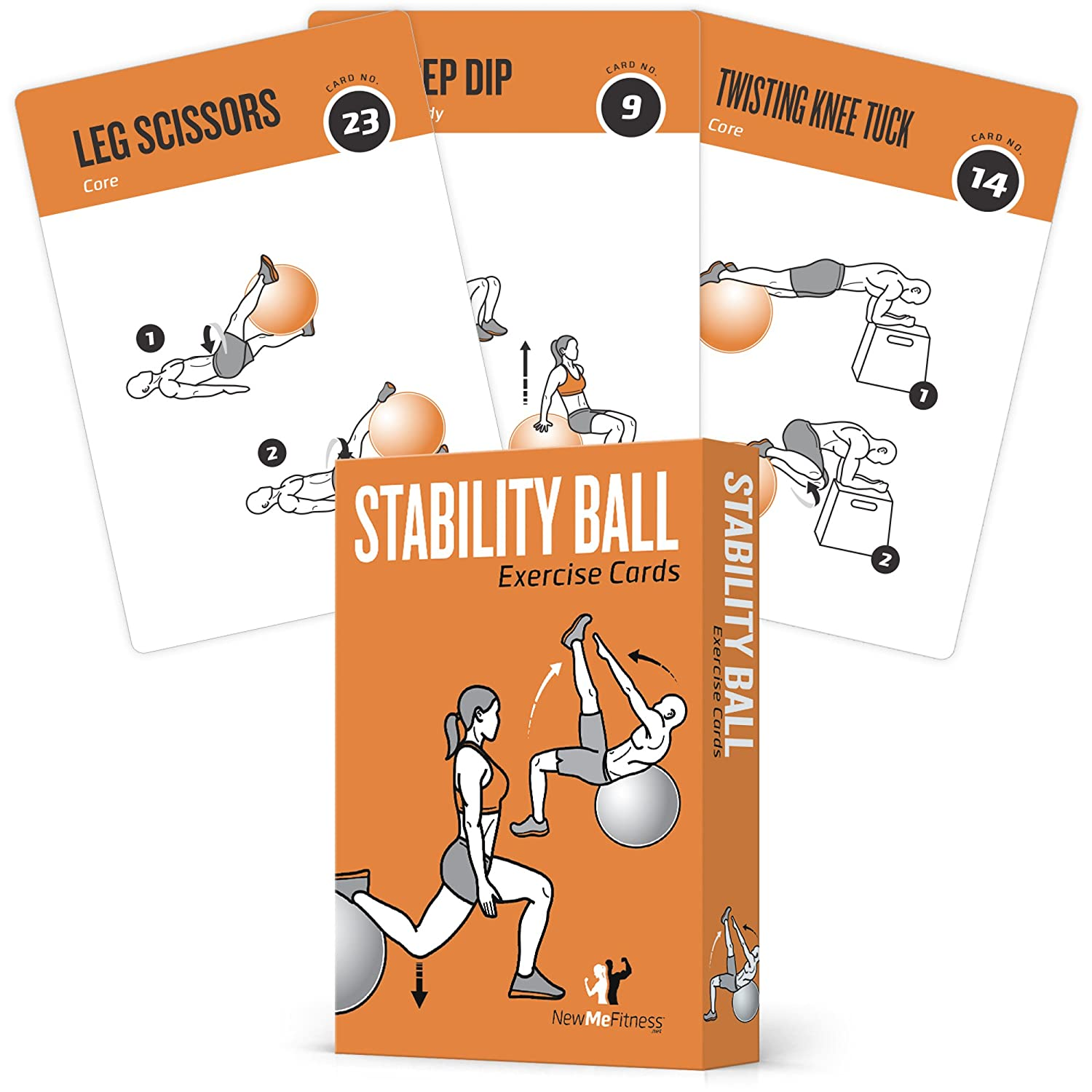 Exercise Cards Stability, Balance Ball - Includes 6, Total Body At Home Workouts : Extra Large, Waterproof, Durable with Diagrams & Instructions : Portable Fitness for Men & Women : 62 cards NewMe Fitness