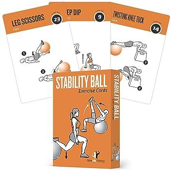 Tarjetas de ejercicios de estabilidad, pelota de equilibrio – incluye 6 unidad. Ejercicios totales