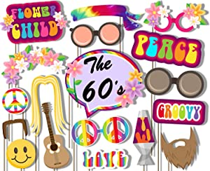 Birthday Galore 60's Hippie Photo Booth Props Kit - 20 Pack Party Camera Props Fully Assembled