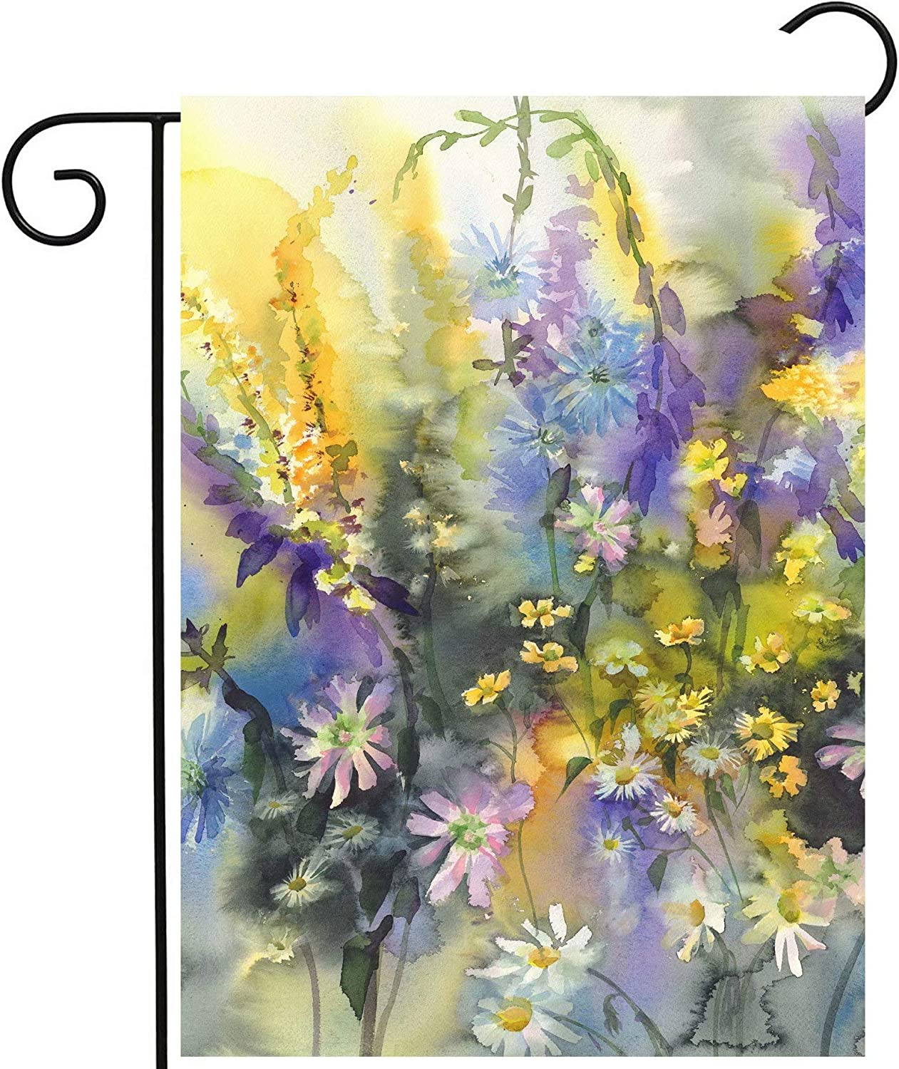 Pickako Retro Watercolor Painting of Summer Spring Colorful Floral Flowers Daisy Garden Yard Flag 12 x 18 Inch, Double Sided Outdoor Decorative Welcome Flags Banners for Home House Lawn Patio
