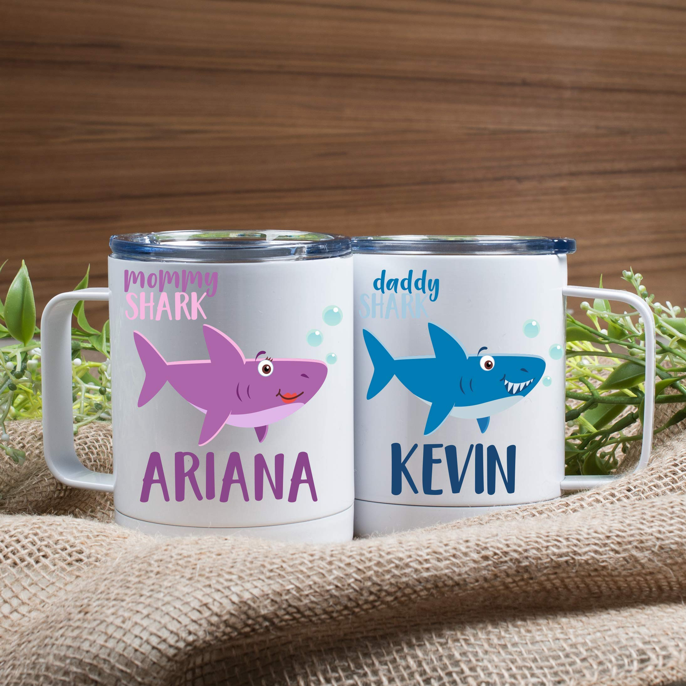 Personalized Gifts Shark Family Coffee Mug - 12oz Stainless Steel Tumbler Coffee Mug with Lid -Birthday Gifts, Christmas Gifts, Mother's Day - Baby, Boy, Girl, Mommy, Daddy, Grandma, Grandpa Sharks by USA Custom Gifts (Image #4)
