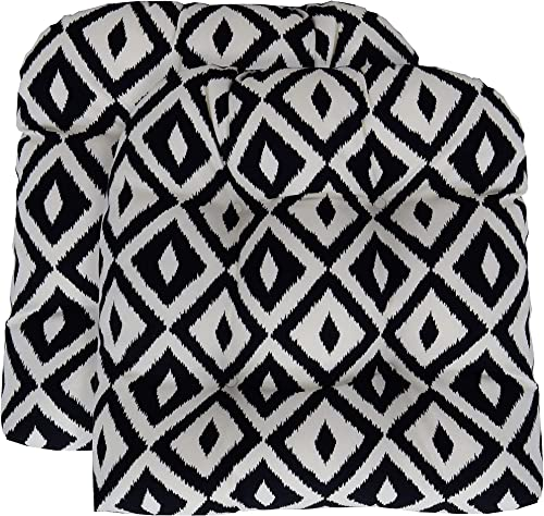 RSH D cor Set of 2 Indoor Outdoor Large 21 Wx 21 D Wicker Tufted U – Shape Chair Cushions – Black and White Aztec Geometric Fabric Cushions