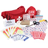 MediTac Lifeguard First Aid Kit, Fanny Pack/Hip Pack, Fully Stocked First Aid Kit With Adult & Infant CPR Combo Masks