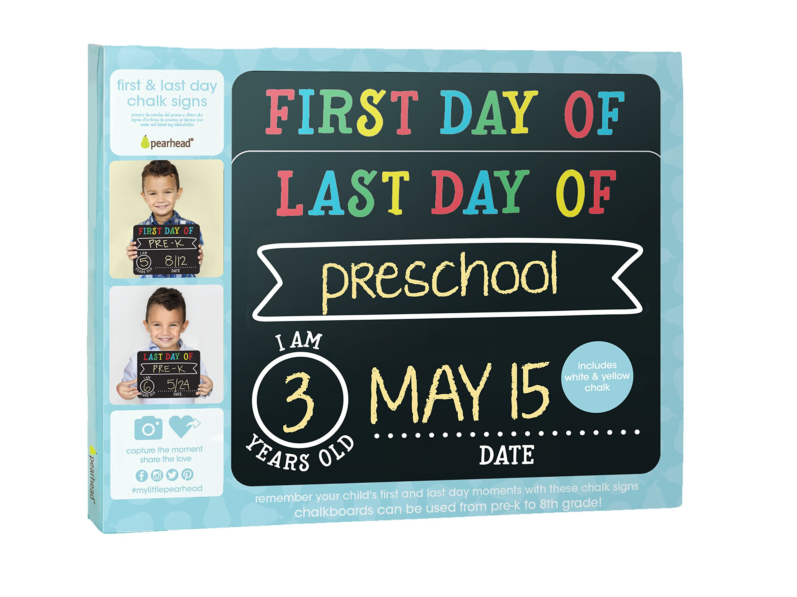 Pearhead First and Last Day of School Photo Sharing Chalkboard Signs; The Perfect Back to School Chalkboard Sign to Commemorate The First Day of School, Set of 2 by Pearhead (Image #9)