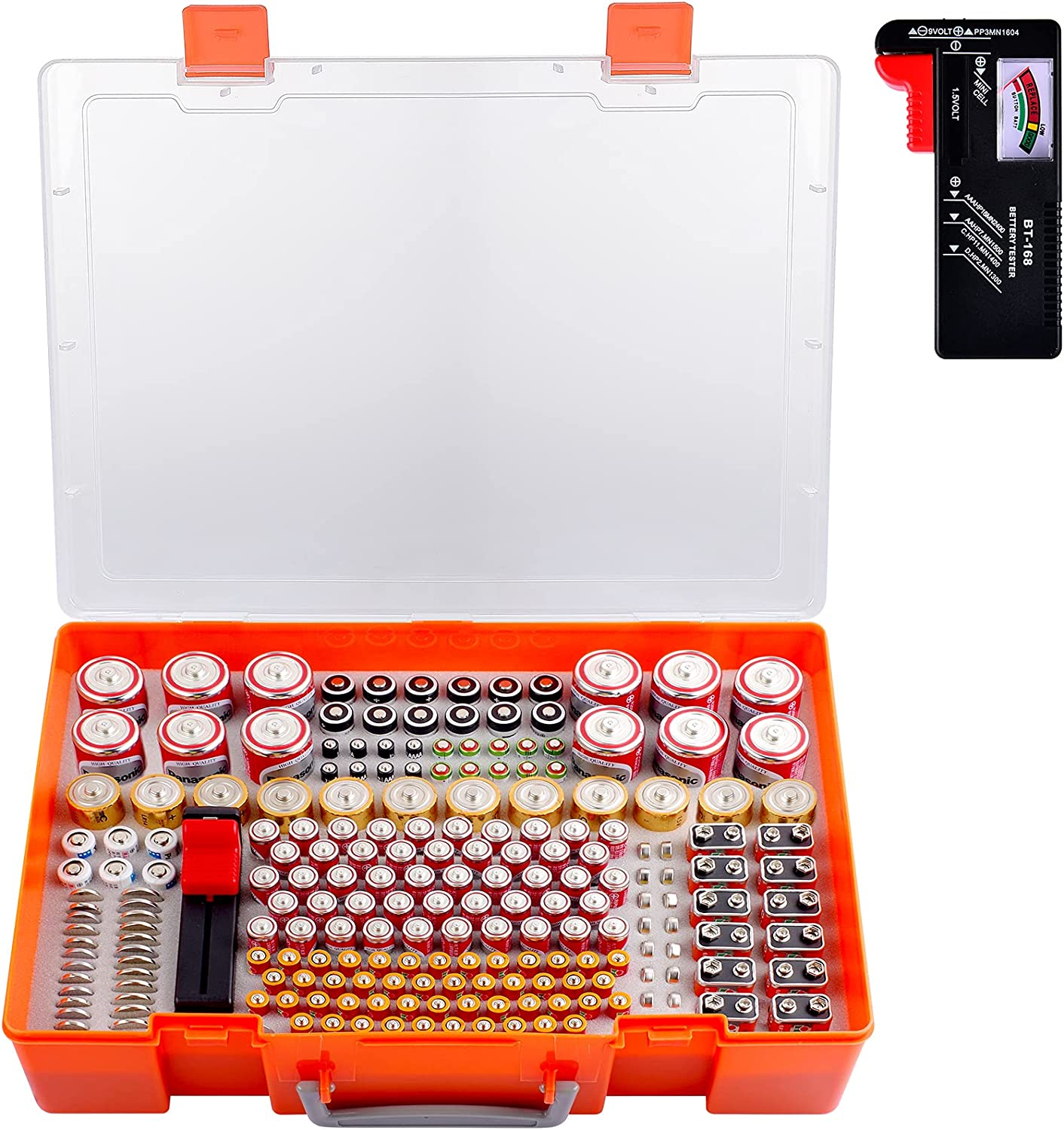 Battery Organizer Storage Box w//Battery Tester for Checker Battery Capacity #8Y