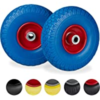 Relaxdays, blauw-rood 2 x steekwagenwiel, lekvrije massief rubberen banden, 3,00-4 inch stalen velg, 20 mm as, 100 kg…