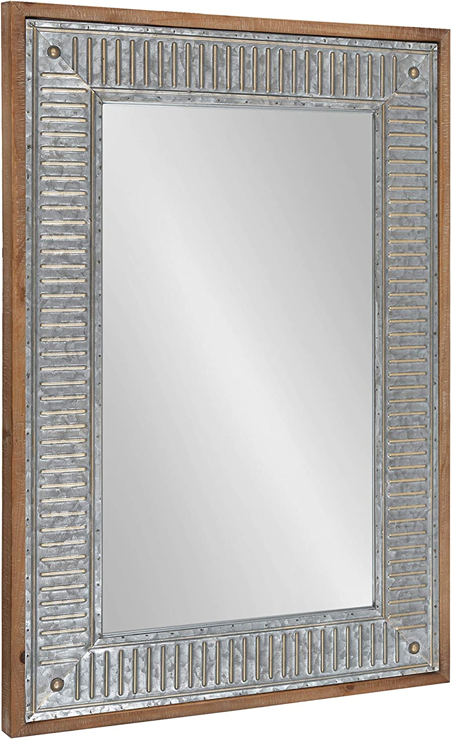 Kate and Laurel Deely Farmhouse Wall Mirror, 20 x 30, Rustic Brown and Silver, Rustic Wall Decor with Galvanized Metal Frame