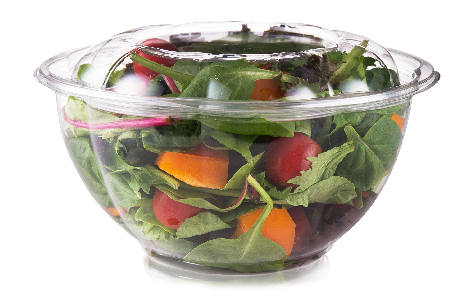 Disposable Salad Bowls With Lids 32 oz (Pack Of 50) By PracticAid: Clear Plastic Containers To Go, Airtight And Leak-Proof Sealing For Fresh Food, Eco-Friendly Biodegradable PET, Stack-able Design