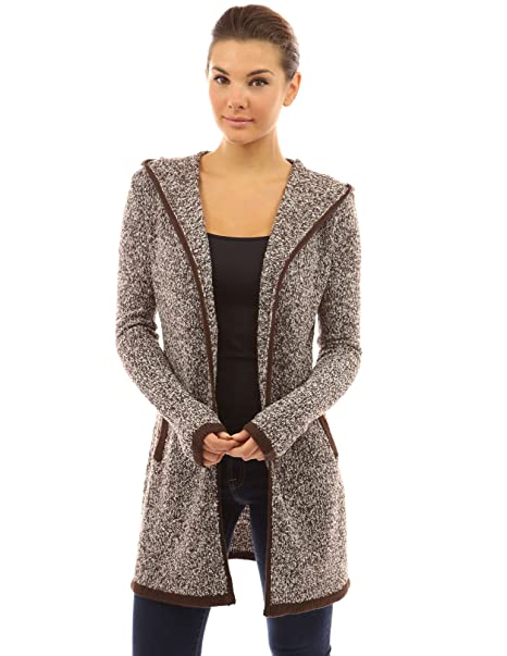 PattyBoutik Women Trim Hoodie Marled Yarn Cardigan