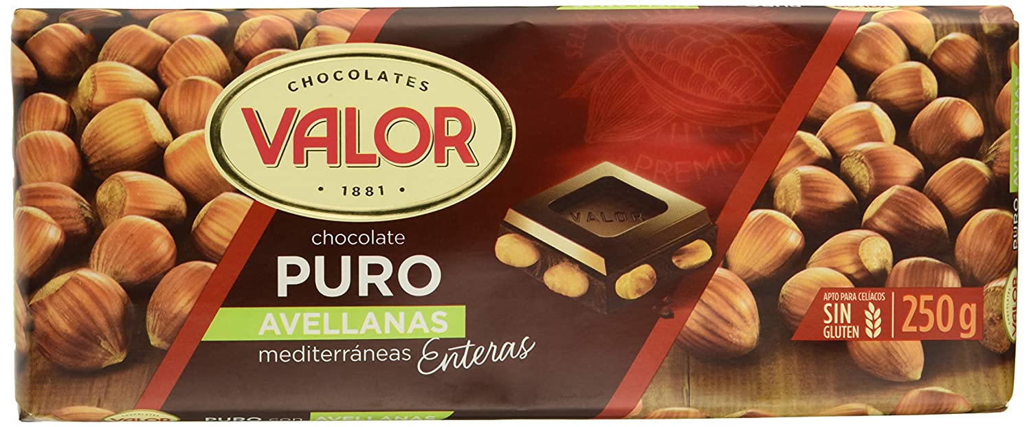 Valor Chocolate Puro Con Avellanas - 250 gr