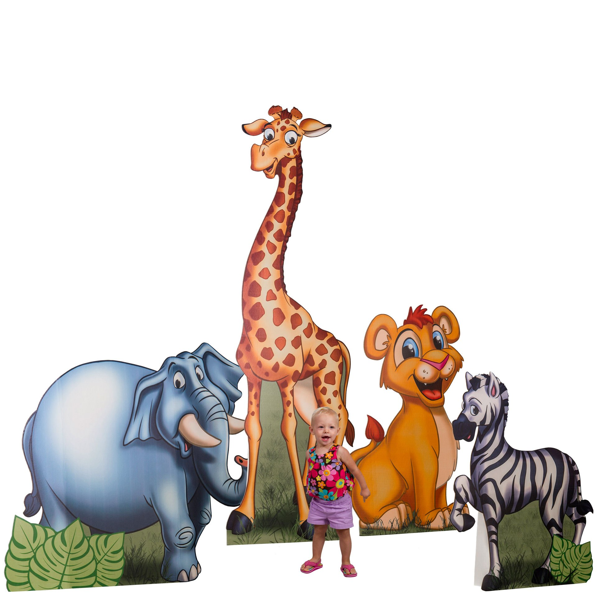 3 ft. to 7 ft. 2 in. Jungle Safari Animals Cardboard Cutout Standee Standup Props Party Supplies Decorations Decor Backdrop Background