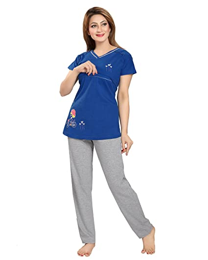 b8c0a1b25b433 AV2 Women's Cotton Solid Feeding/Nursing/Maternity Top and Pyjama Set  (2677BM,