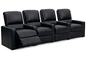 Octane Seating CHARGER-R4SM-BND-BL Octane Charger XS300 Leather Home Theater Recliner Set (Row of 4), Black
