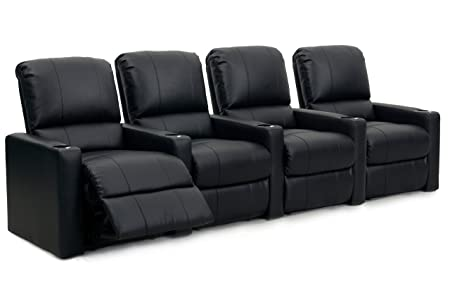 Octane Seating CHARGER-R4SM-BND-BL Octane Charger XS300 Leather Home Theater Recliner Set Row of 4 , Black