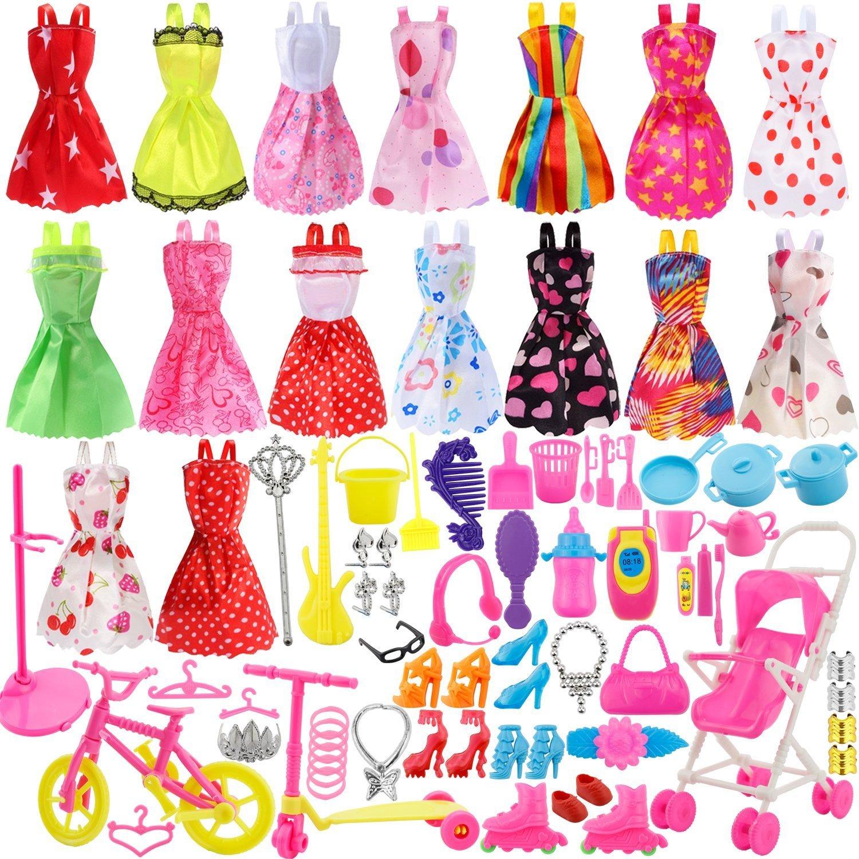 114pz Accessori per Barbie Scarpe Bambole Abbigliamento e Essenziale oggetto domestico Accessori gioielli Mini Carina Gonna per Bambole Barbie Come della Ragazza Compleanno Regalo
