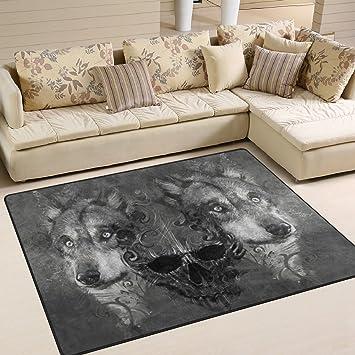 Amazon.de: ingbags Super Weich Modern Skull Wolf, ein Wohnzimmer ...