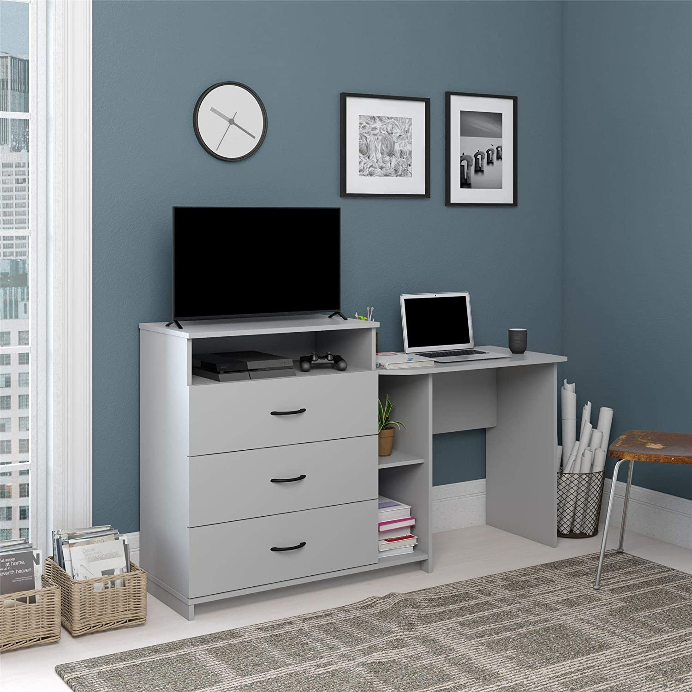 Ameriwood Home Rebel 3 in 1, Dove Gray Combo Media Dresser and Desk