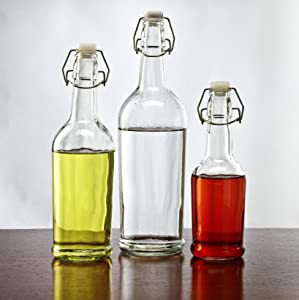 Circleware Olive Oil And Vinegar Beverage Dispenser Bottles with Hermetic Lid, 33/17/8.5 oz, Glass/Clear