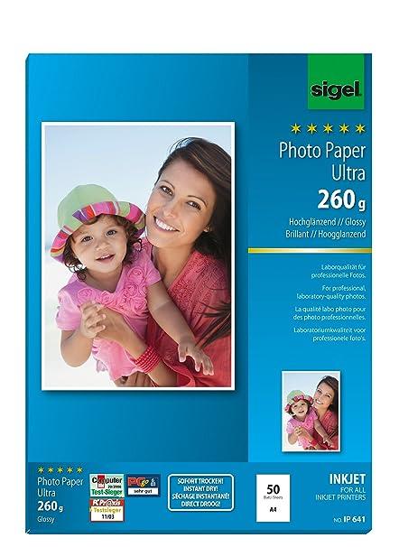 SIGEL IP641 Papel fotográfico profesional para impresoras InkJet ...