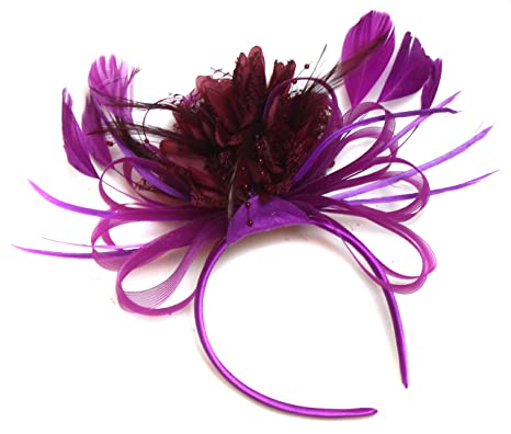 Plum Magenta and Burgundy Wine Dark Red Feather Hair Fascinator ... 41be93307c3