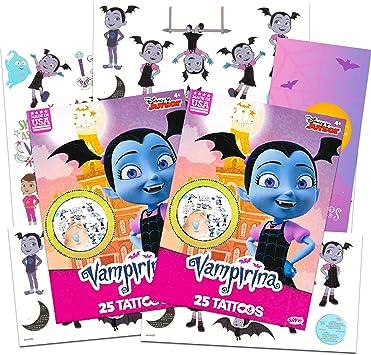 Desconocido Disney Vampirina Tattoos Party Supplies Pack ~ El Paquete Incluye 50 Tatuajes temporales de Vampirina con Colgador de Puerta de Batty de Regalo (Vampirina Party Favors): Amazon.es: Juguetes y juegos
