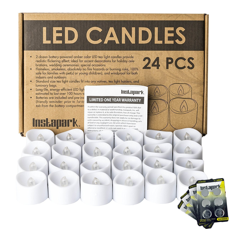 Instapark 24 LED Faux Flameless Flickering Tea Light Candles, 2-Dozen per Pack Pet-safe and Child-safe Wind-proof Indoor & Outdoor (2-dozen Bonus Replacement Batteries Included)
