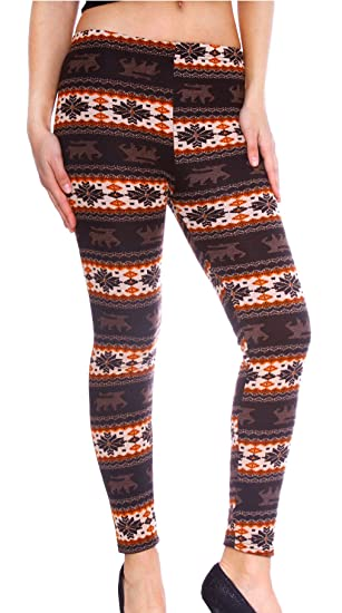 70a55b87f7070c Women's Winter Festive Seasonal Reindeer/Snowflake Patterned Leggings, #1  at Amazon Women's Clothing store: