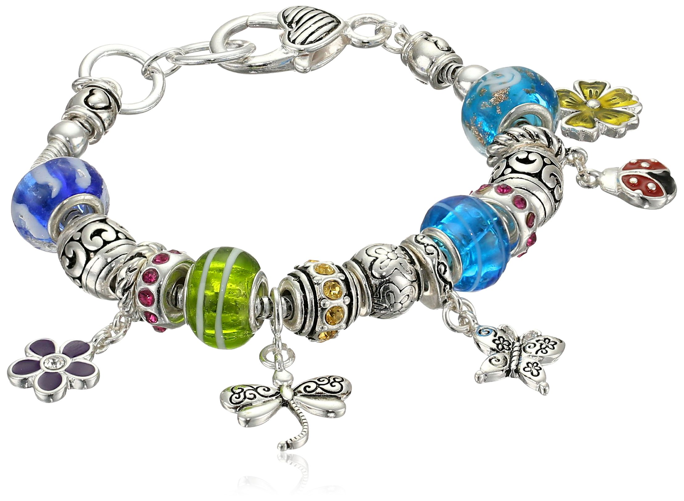 Spring Time Silver Tone Metal and Glass Bead Charm Bracelet, 7.5''