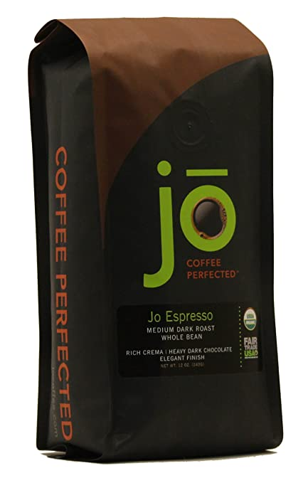 JO ESPRESSO: 12 oz, Medium Dark Roast, Whole Bean Organic Arabica Espresso Coffee