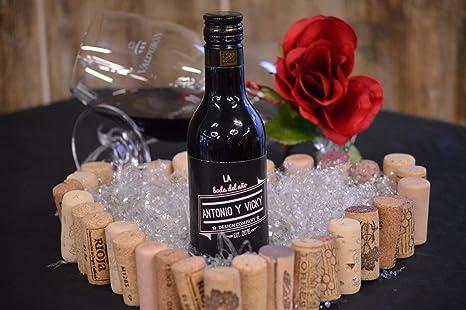 Botella personalizada vino enlace regalo para boda fondo negro (pack de 12 botellas): Amazon.es: Alimentación y bebidas