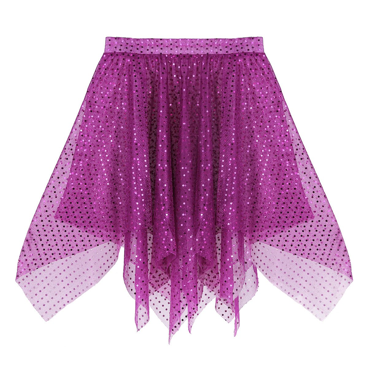 TiaoBug Womans Sparkle Running Asymmetric Layered Skirts City Skirts Running Tutu Ballet Latin Dance Skirt