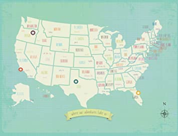 my travels personalized usa map 36x24 wall art print children s wall art map kid s