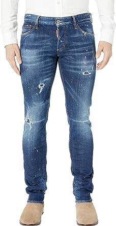 cb9b4dfab774d0 Amazon.com: DSQUARED2 Men's Dark Pink Spray Wash Slim Jeans in Blue ...