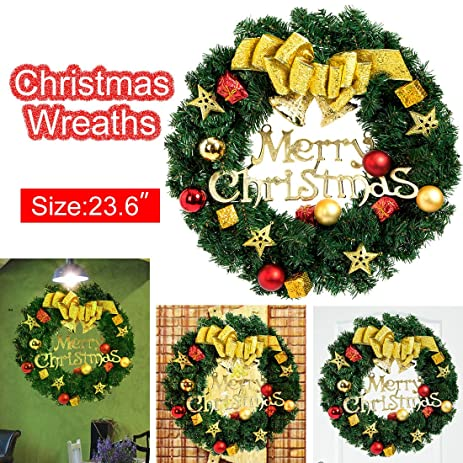 christmas wreaths 24inch christmas garland artificial flowers with bow cones flowers pines artificial christmas wreaths garlands - Artificial Christmas Wreaths Decorated