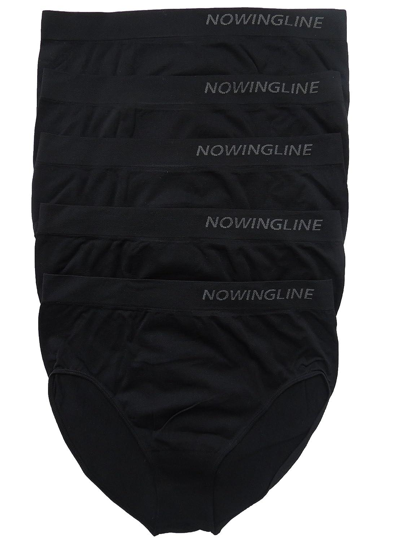 Schwarze Slips 5er Pack für Damen von Nowingline Größe 38-64