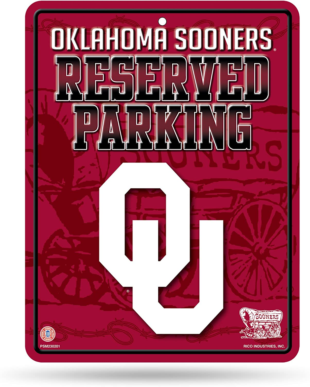 NCAA Oklahoma Sooners 8.5-Inch by 11-Inch Metal Parking Sign Décor