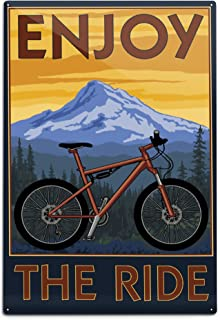 product image for Lantern Press Enjoy The Ride, Mountain Bike Scene (12x18 Aluminum Wall Sign, Wall Decor Ready to Hang)