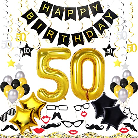 50th Birthday Decorations Kit 70 Pieces Happy Banner 40 Inch 50 Gold