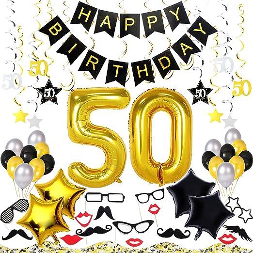 50th Kit de decoración de cumpleaños 70 pcs - Pancarta de ...