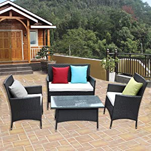 HTTH 4 PC Rattan Patio Furniture Set Garden Lawn Pool Backyard Outdoor Sofa Wicker Conversation Set with Weather Resistant Cushions...