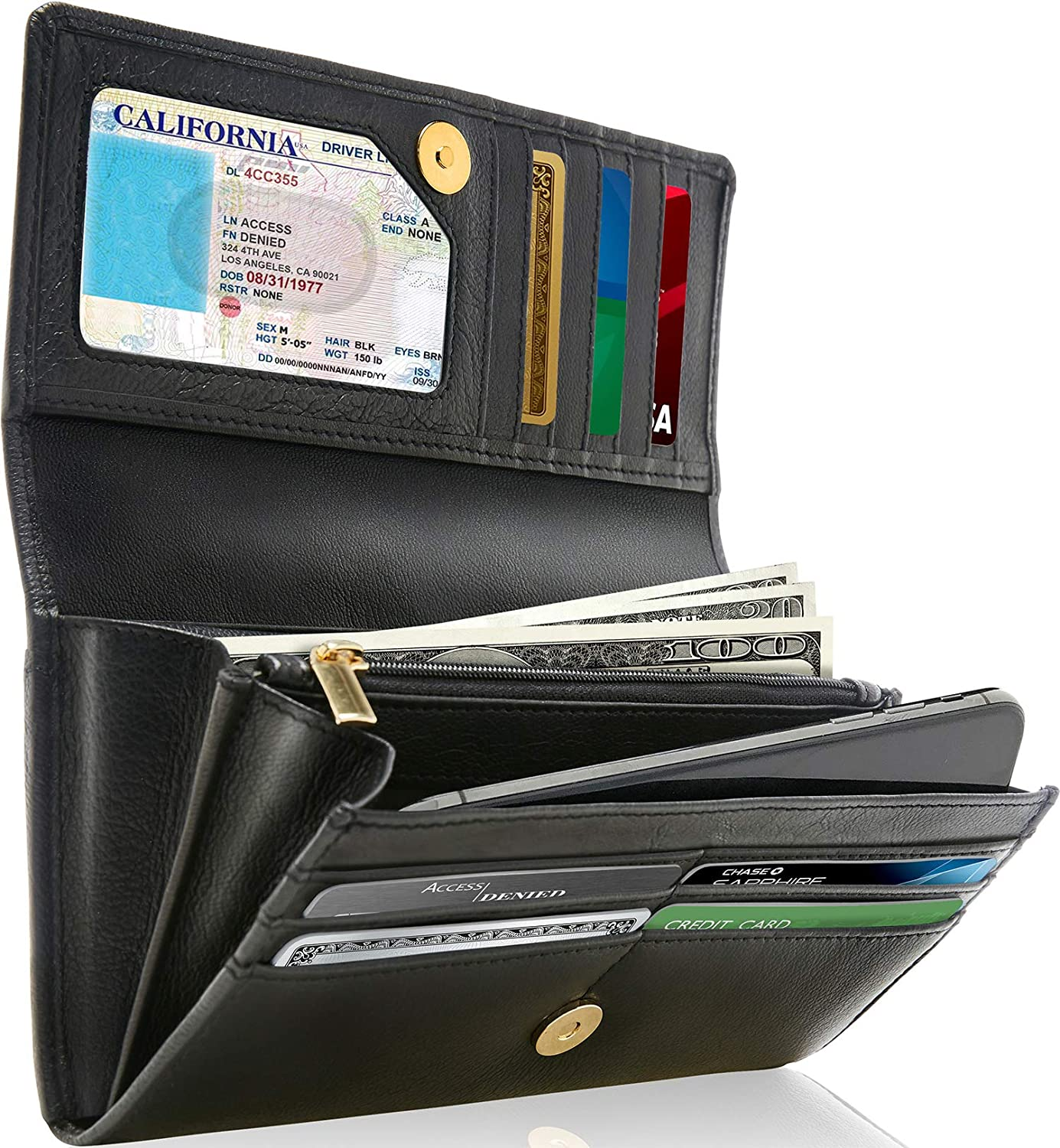 5fd73bd9d3d Leather Clutch RFID Wallets For Women - Large Womens Wallet Accordion Purse  Organizer With Checkbook Cover Gifts For Women