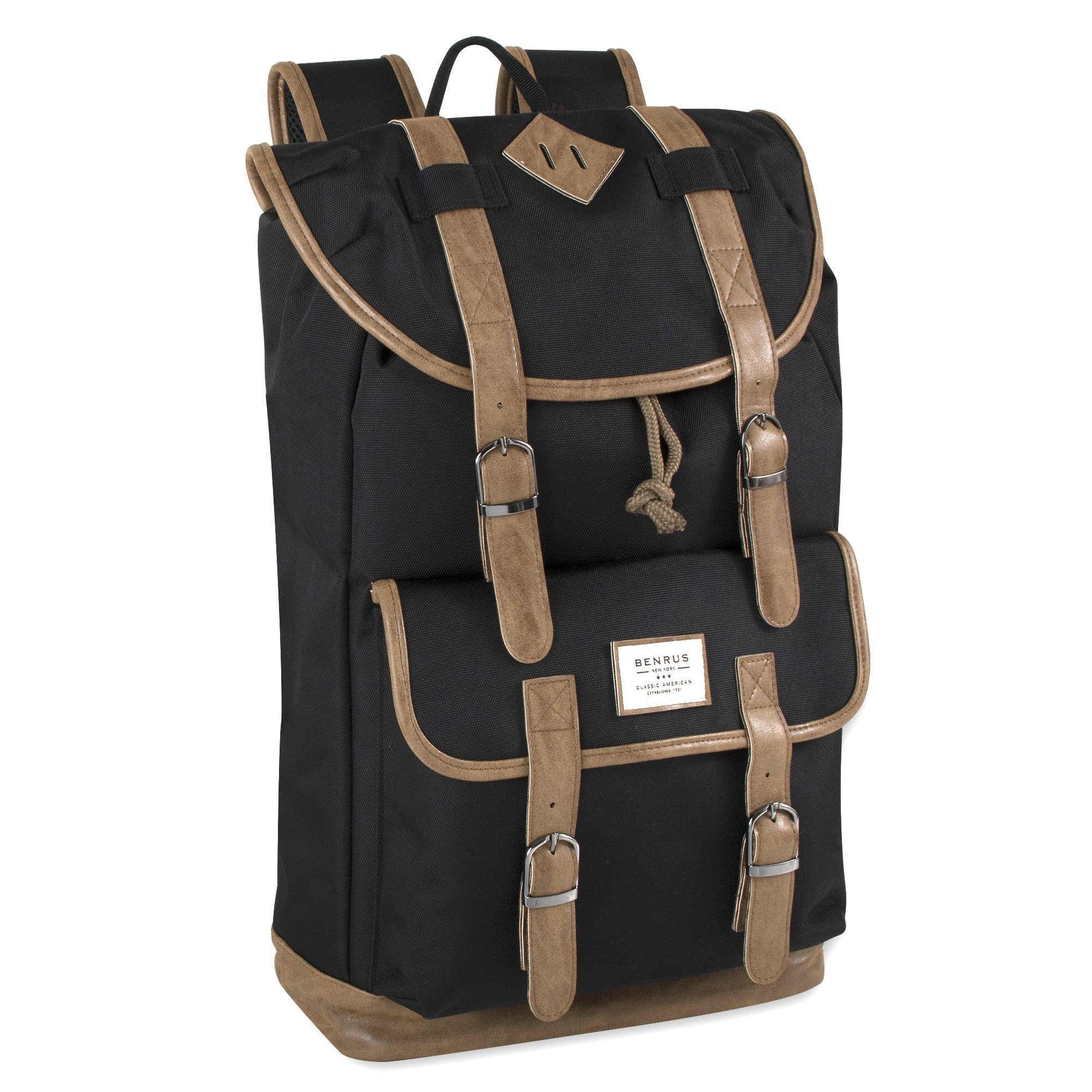 Benrus Drawstring and Flap Multi Pocket Scout Black Canvas Backpack for Outdoors, Hiking, Camping, and Travel - For Men and Boys